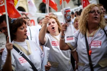 Protesta de trabajadores de Panrico en defensa de sus puestos de trabajo. Barcelona, 18 de octubre de 2013 [ALBERT GARCIA]